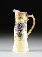A WILLETS BELLEEK PARCEL-GILT AND HAND PAINTED PORCELAIN PITCHER, BROWN MAKER'S MARKS, LATE 19TH/EARLY 20TH CENTURY,