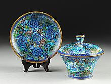 A CHINESE BLUE GROUND CLOISONNÉ COVERED DISH AND UNDERPLATE, LATE 20TH CENTURY,