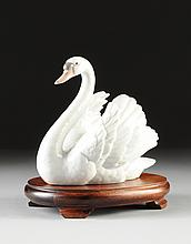 A LLADRO WHITE PORCELAIN SWAN, BLUE AND IMPRESSED MAKER'S MARKS, 1983,