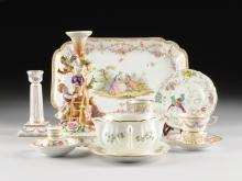 A MISCELLANEOUS GROUP OF SIX DRESDEN, FRENCH AND ENGLISH PORCELAIN WARES, VARIOUS MARKS, 20TH CENTURY,