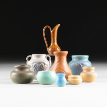 A GROUP OF NINE ASSORTED VAN BRIGGLE ART POTTERY MINIATURE WARES, EACH SIGNED, SECOND HALF 20TH CENTURY,