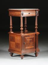 A HENRI II REVIVAL MARBLE TOPPED CARVED WALNUT BEDSIDE CABINET, THIRD QUARTER 19TH CENTURY,