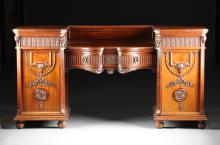 A FINE REGENCY STYLE CARVED MAHOGANY TWO PEDESTAL SIDEBOARD, BY ROYAL WARRANTED MAPLE & CO., LONDON, PARIS AND BUENOS AIRES, EARLY 20TH CENTURY,