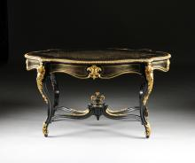 A NAPOLEON III GILT BRONZE MOUNTED AND INLAID TABLE DE MILIEU, THIRD QUARTER 19TH CENTURY,