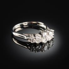 A 14K WHITE GOLD AND DIAMOND WEDDING LADY'S BAND,