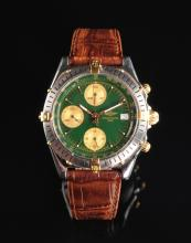 GENT'S STAINLESS STEEL AND GOLD BREITLING CHRONOMAT CHRONOGRAPH WRIST WATCH,
