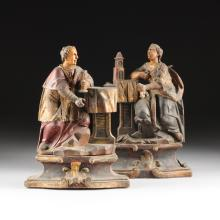 A PAIR OF FLEMISH BAROQUE POLYCHROME PAINTED AND PARCEL GILT CARVED WOOD FIGURES OF SAINTS, 18TH/19TH CENTURY,