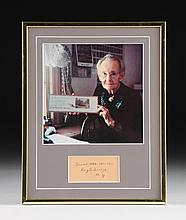 SIGNATURE CARD SIGNED GRANDMA MOSES (American 1860-1961) EAGLE BRIDGE NEW YORK, FRAMED TOGETHER WITH PHOTOGRAPH,