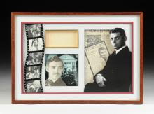 SIGNATURE CARD SIGNED CLARK GABLE (American 1901-1960)FRAMED TOGETHER WITH PHOTOGRAPH OF ARTIST,