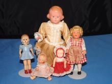Lot of  5 Various Celluloid and Plastic Dolls
