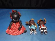 Lot 3 Black American Miniature Doll & 2 Bisques