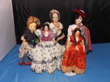 Lot of 5 Various Travel Miniature Dolls