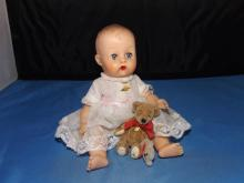 Vintage Small Baby Doll with Teddy Bear