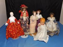 Lot of 7 Various Victorian Style Dolls
