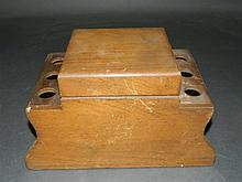Wooden Pipe Stand with Tobacco Storage