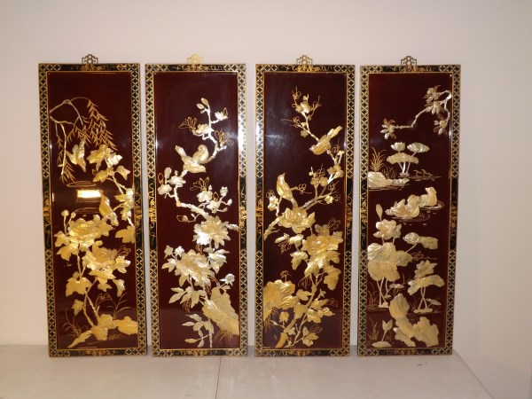 4 chinese framed mother of pearl art pieces by houston. Black Bedroom Furniture Sets. Home Design Ideas
