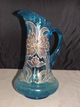 Ornate Hand Painted Blue Pitcher