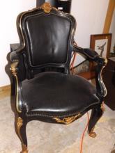 Ebony Wood Louis XVI  Chair w/ Brass