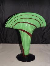 Green & Black Fan Shaped Art Glass Vase