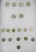 18 pc Coins Barber dime, Mercury dimes, Roosevelt Dimes, Standing liberty quarters