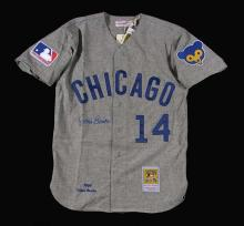 Ernie Banks autographed Chicago Cubs Mitchell & Ness replica jersey