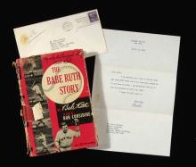 1948 Babe Ruth signed letter to Herb Carneal with related book