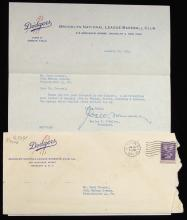 1954 Walter O'Malley signed letter to Herb Carneal