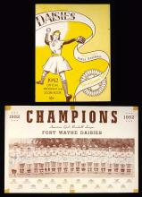Fine 1952 Fort Wayne Daisies team autographed photographic scorecard with Jimmie Foxx (AAGBBL Champions)