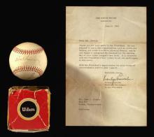 President John F. Kennedy secretarial signed baseball with White House presentational letter c.1962.