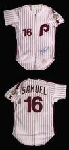 1984 Juan Samuel Philadelphia Phillies professional model home jersey. Red pinstriped white home knit jersey retains its original