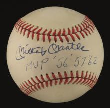 Mickey Mantle single signed baseball with MVP years inscription. Rawlings B.Brown Official American League baseball has been signed on the sweetspot in blue ink rating 8-8/9 out of 10. Below his signature Mantle has a seldom seen