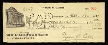 1930 Ty Cobb signed personal check. November 17, 1930 dated check drawn on his personal account has been signed at lower right,