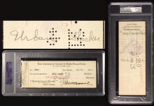 Urban Shocker signed/endorsed 1925 New York Yankees payroll check. Black fountain pen