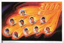 3,000 Strikeout Club autographed poster. Large format print has been signed by (10) incl. Ryan, Seaver, Neikro, Clemens, Blyleven, Sutton, Jenkins, Carlton, Perry, and Gibson. Marker signatures rate 8-9/10 out of 10.  Tastefully matted and framed
