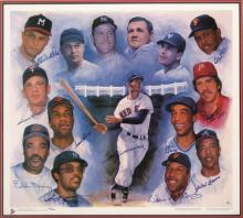 500 Home Run Club autographed limited edition print. Oversized art print has been signed by (11) incl. Williams, Mathews, Killebrew, Murray, Jackson, Robinson, McCovey, Aaron, Mays, Banks, and Schmidt. Blue marker signatures rate 8-9/10 out of 10.