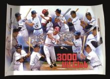 3,000 Hit Club autographed poster. Large format print has been signed by (13) incl. Mays, Aaron, Yount, Brett, Musial, Rose, Yastrzemski, Kaline, Brock, Carew, Molitor, and Winfield. Blue marker signatures rate 8-9/10 out of 10. Measures 25
