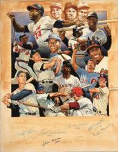 500 Homerun Club autographed original artwork by Craig Pursley. Outstanding collage artwork depicts members of the game?s most famous club and includes all members through Mark McGwire. Signing within the lower front portion are (12) incl. Mantle,