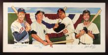 Triple Crown Winners autographed original painting by Craig Pursley. Striking color oil on canvas artwork shows Ted Williams, Mickey Mantle, Frank Robinson, and Carl Yastrzemski; the last (4) players to have earned an elusive Triple Crown. Each has