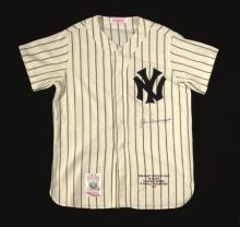 Joe DiMaggio autographed limited edition New York Yankees jersey. High quality flannel throwback by Mitchell & Ness done in the style of that worn by DiMaggio is embroidered at lower front with several lines of career related information and