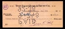 1948 Ty Cobb signed counter check. July 29, 1948 dated check drawn on the Twin Falls Bank & Trust has been signed at lower right,