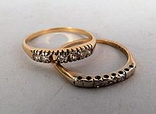 2 14K Gold and Diamond Rings
