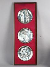 3 Piece Sterling Silver Tribute to Picasso Plates