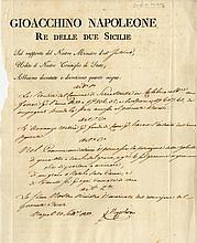 MURAT JOACHIM: (1767-1815) Marshal of France, brother-in-law of Napoleon Bonaparte. King of Naples 1808-15. L.S., J Napo