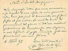 PIUS X: (1835-1914) Pope of the Roman Catholic Church 1903-14. Canonized in 1954. A.L.S., `+ Gio Sarto Ves´, to the vers