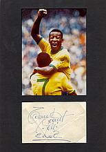 PELE: (1940- ) Brazilian Footballer. Full vintage blue ink signature on an irregularly clipped piece, with another (unid