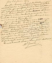 JOURDAN JEAN BAPTISTE: (1762-1833) Marshal of France. A.L.S., Ml. Jourdan, one page, small 4to, Soisy, 4th February 1829