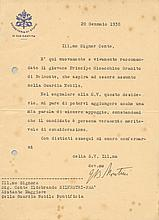 PAUL VI: (1897-1978) Pope of the Roman Catholic Church 1963-78. T.L.S., G.B. Montini, one page, small 4to, Rome, 20th Ja
