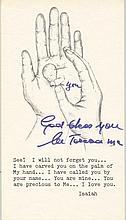 TERESA MOTHER: (1910-1997) Albanian Roman Catholic Nun, Nobel Peace Prize winner, 1979. Signed printed 12mo prayer, feat