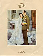 JUAN CARLOS I: (1938-  ) King of Spain 1975-2014 & SOFIA OF SPAIN (1938-  ) Queen of Spain 1975-2014. Vintage signed col