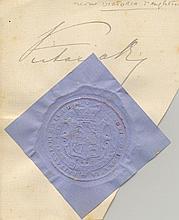VICTORIA: (1819-1901) Queen of the United Kingdom Great Britain & Ireland 1837-1901. Fine ink signature ('Victoria R I')